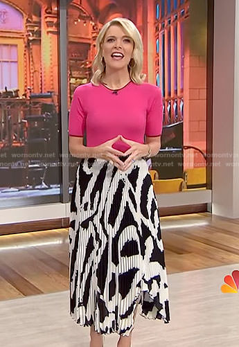 Megyn's asymmetric pleated midi skirt on Megyn Kelly Today