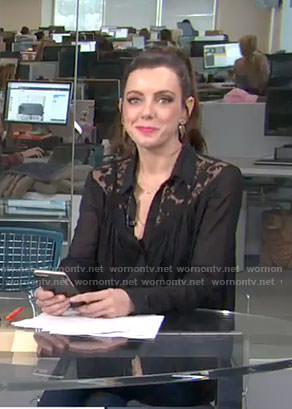 Melanie's black lace insert blouse on Live from E!