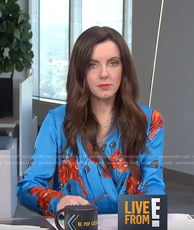 Melanie's blue floral cross top on Live from E!