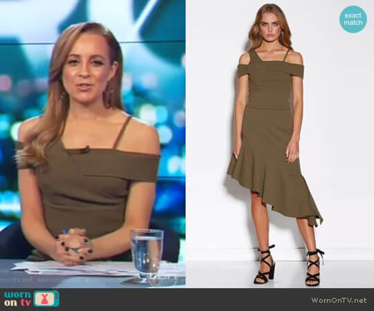 Khaki Top by Ministry Of Style worn by Carrie Bickmore on The Project