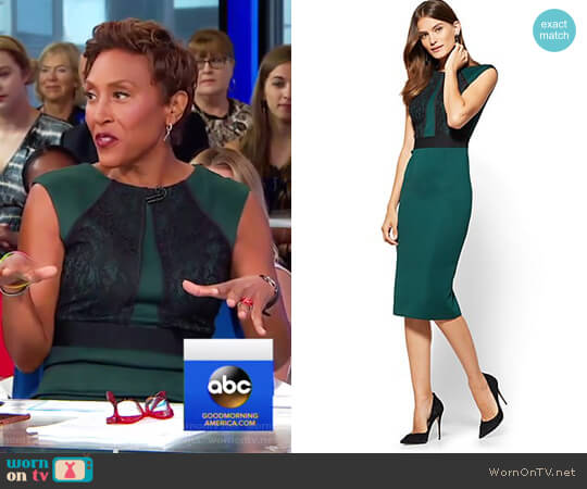 Lace Detail Sheath Dress by New York & Company worn by Robin Roberts on Good Morning America