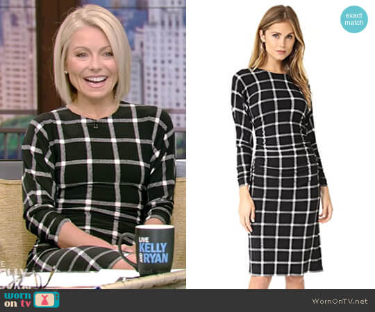 Dolman Shirred Waist Dress by Norma Kamali worn by Kelly Ripa  on Live with Kelly & Ryan