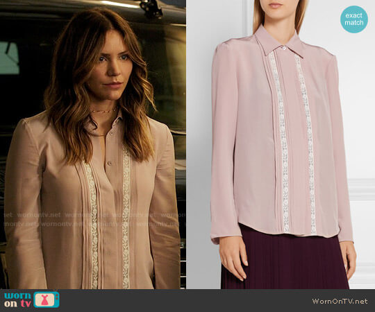 Prada Lace-trimmed silk crepe de chine shirt worn by Katharine McPhee on Scorpion