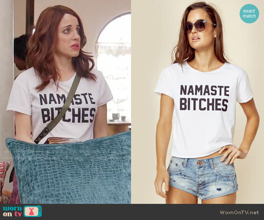 Private Party Namaste Bitches Tee worn by Alanna Ubach on GG2D