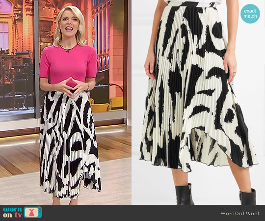 Asymmetric Pleated Printed Chiffon Midi Skirt by Proenza Schouler worn by Megyn Kelly on Today