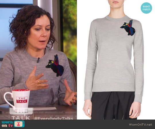 Embroidered-Patch Wool Sweater by Proenza Schouler worn by Sara Gilbert on The Talk