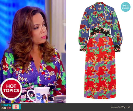 Fedora printed silk-jacquard midi dress by Rixo London worn by Sunny Hostin  on The View