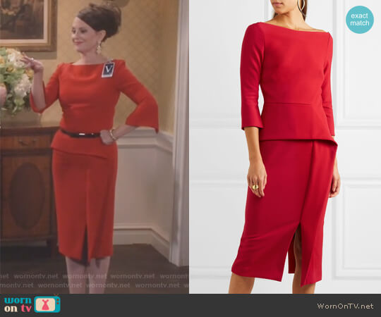 Ardingly dress by Roland Mouret worn by Megan Mullally on Will & Grace