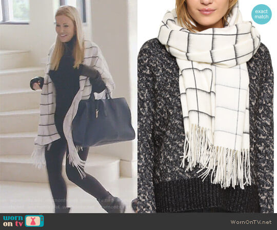 Brushed Check Scarf by Rag and Bone worn by Stephanie Hollman  on The Real Housewives of Dallas