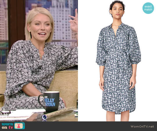 Capucine Floral Hammered Silk Shirtdress by Rebecca Taylor worn by Kelly Ripa on Live with Kelly & Ryan