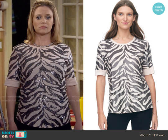 Rebecca Taylor Tiger Sequin Top in Fleur worn by Andrea Barber on Fuller House