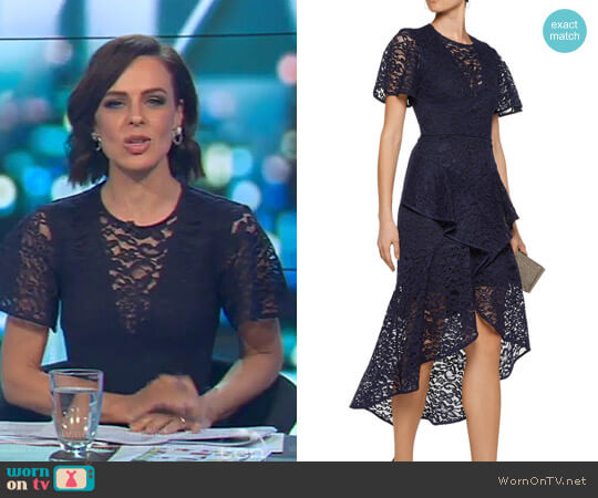 Tiered Corded Lace Midi Dress by Rebecca Vallance worn by Natarsha Belling  on The Project