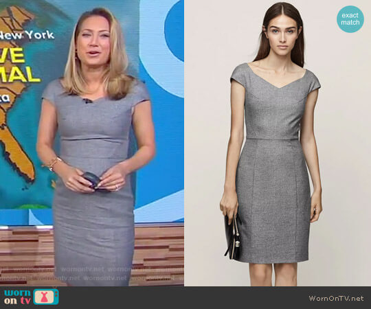 'Hampstead' Wide Neck Tailored Dress by Reiss worn by Ginger Zee on Good Morning America