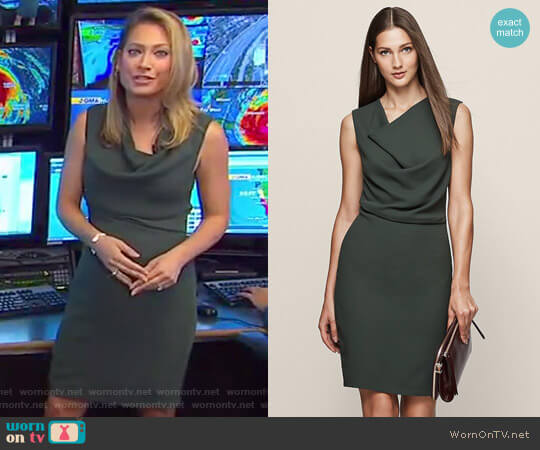'Marie' Cowl Neck Shift Dress by Reiss worn by Ginger Zee  on Good Morning America