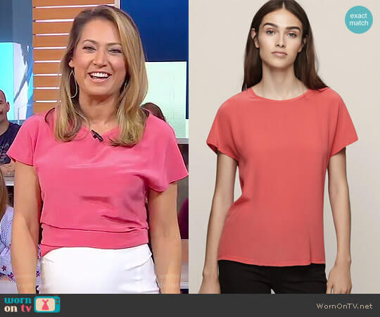 'Tia' Silk Front T-Shirt by Reiss worn by Ginger Zee on Good Morning America