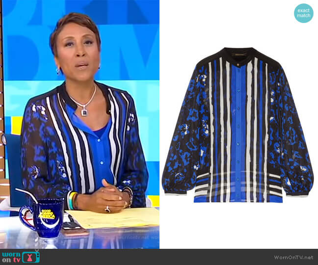 Printed Silk Blouse by Robert Cavalli  worn by Robin Roberts on Good Morning America