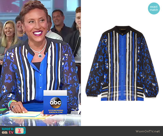 Printed Silk Crepe de Chine Blouse by Robert Cavalli worn by Robin Roberts on Good Morning America