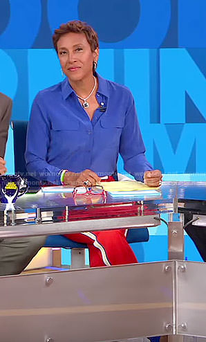 Robin's blue blouse and red side striped pants on Good Morning America