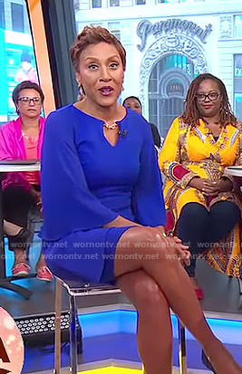 Robin's blue flutter sleeved chain neck dress on Good Morning America