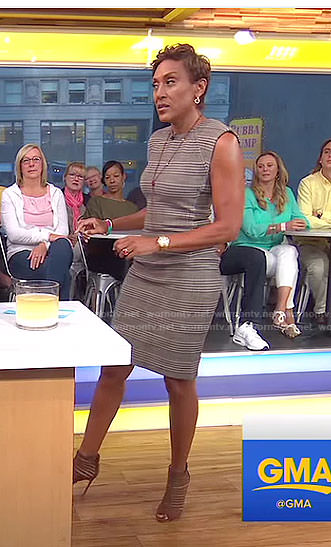 Robin's grey plaid sheath dress on Good Morning America