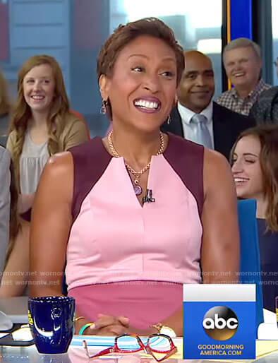 Robin's pink colorblock v-neck dress on Good Morning America