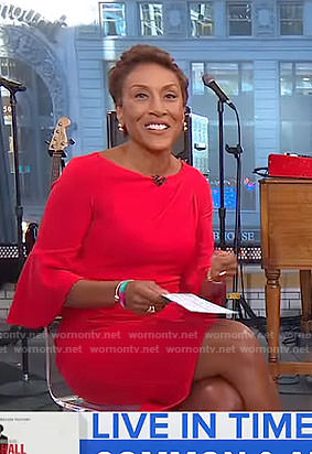 Robin's red bell sleeve dress on Good Morning America