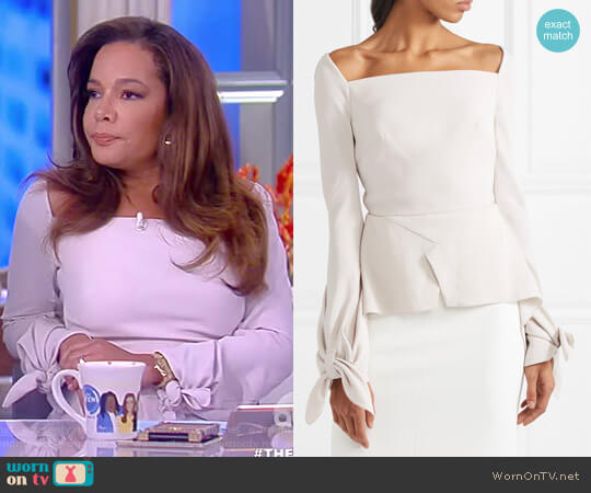 Wicklow knotted textured-crepe peplum top by Roland Mouret worn by Sunny Hostin  on The View