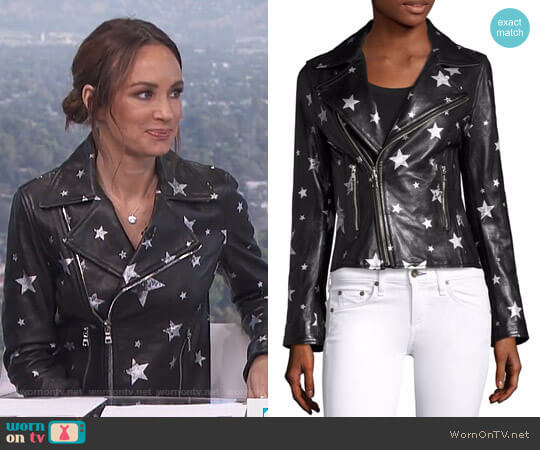 Nico Starred Raven Leather Biker Jacket by RTA worn by Catt Sadler  on E! News