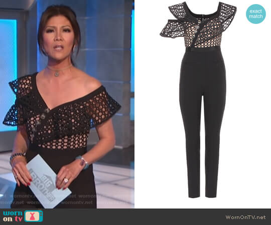 Lace Frill jumpsuit by Self Portrait worn by Julie Chen on Big Brother