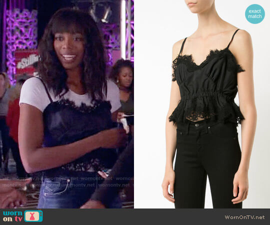 Sacai Cropped Lace Camisole worn by Yvonne Orji on Insecure