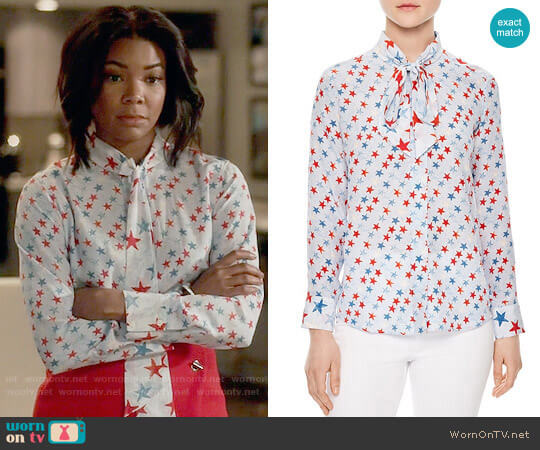 Sandro Space Tie-neck Silk Shirt worn by Mary Jane Paul (Gabrielle Union) on Being Mary Jane
