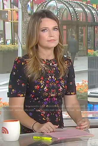 Savannah's black pansy print dress on Today