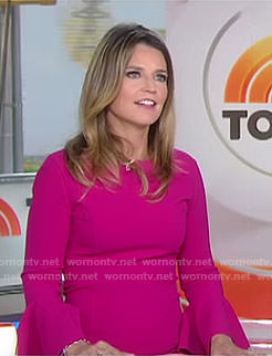 Savannah's pink bell sleeve dress on Today
