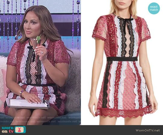 Paneled Bellis Lace Minidress by Self Portrait worn by Adrienne Houghton on The Real