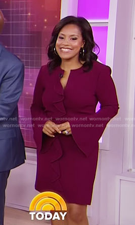 Sheinelle's purple ruffled bell sleeve dress on Today