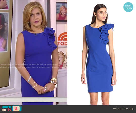Sleeveless Ruffle Shoulder Dress by Calvin Klein worn by Hoda Kotb  on Today