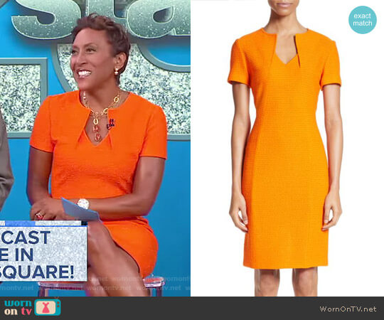 Ribbon Texture Knit Dress by St. John Collection worn by Robin Roberts on Good Morning America
