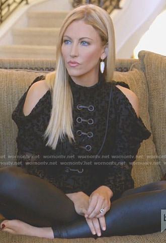 Stephanie's black cold-shoulder velvet top on The Real Housewives of Dallas