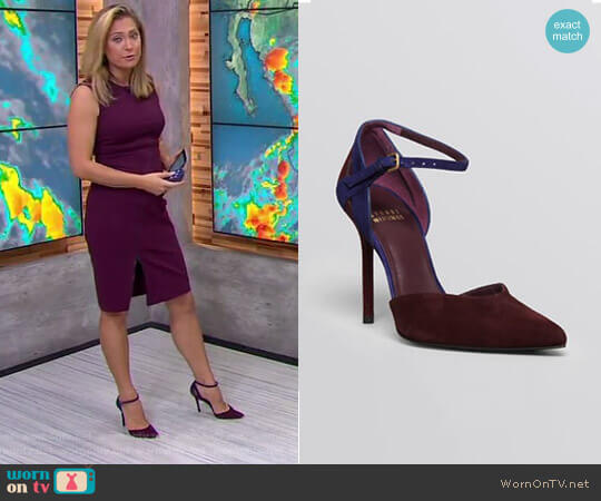 Pointed Toe D'Orsay Ankle Strap Pumps by Stuart Weitzman worn by Ginger Zee on Good Morning America