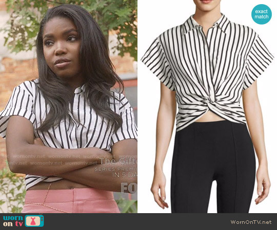 T by Alexander Wang Twisted Front Striped Shirt worn by Alexandra Crane (Ryan Destiny) on Star