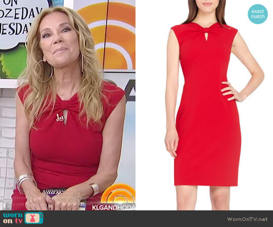 Knotted Scuba Sheath Dress by Tahari worn by Kathie Lee Gifford on Today