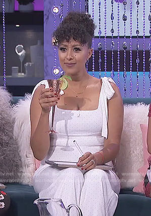 Tamera's white dot bow shoulder jumpsuit on The Real