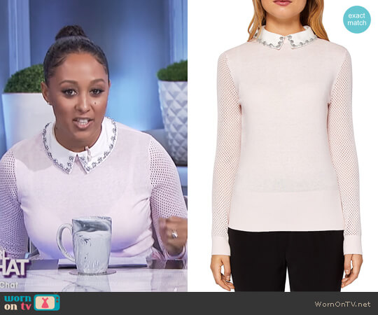 Braydey Embellished Collar Sweater by Ted Baker worn by Tamera Mowry  on The Real