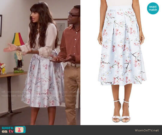Ted Baker Floral-Printed Midi Skirt worn by Jameela Jamil on The Good Place