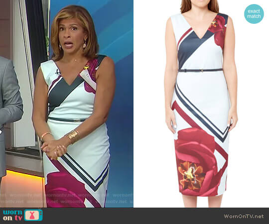 Flowered Lattice Bodycon Dress by Ted Baker worn by Hoda Kotb (Hoda Kotb) on Today