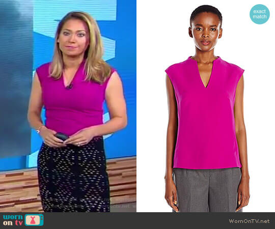 'Paysy' High Neck Long Back Panel Top by Ted Baker worn by Ginger Zee on Good Morning America