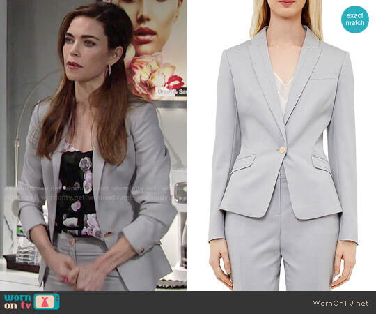 Ted Baker Radiia Blazer worn by Victoria Newman (Amelia Heinle) on The Young & the Restless