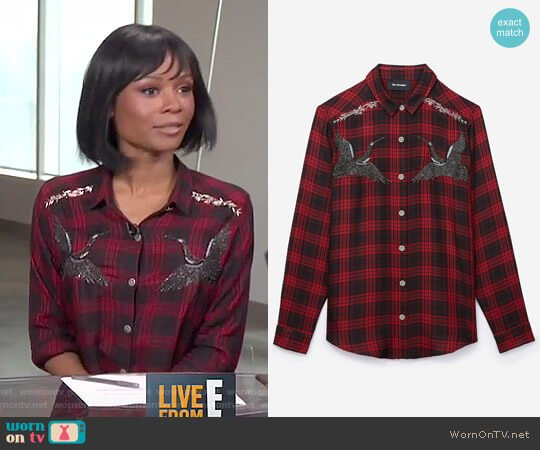 The Kooples Woven Checked shirt with Embroidered Storks worn by Zuri Hall on E! News