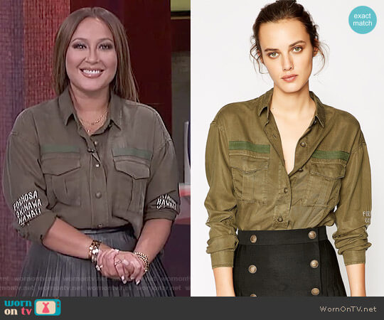 Embroidered Khaki Shirt by The Kooples worn by Adrienne Houghton  on The Real