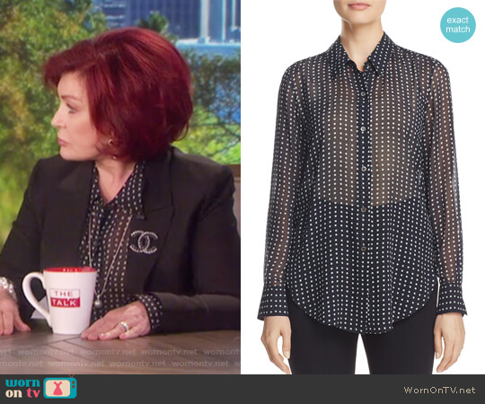 Sunaya Square Dot Blouse by Theory worn by Sharon Osbourne  on The Talk